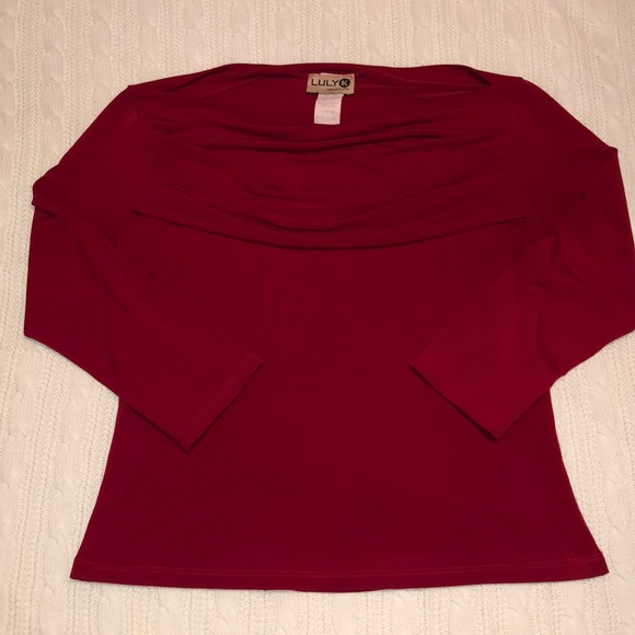 Luly K New York City Tops | 34 Sleeve Juniors Red Cowlneck